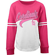 5th & Ocean Youth Girls' St. Louis Cardinals White/Pink Three-Quarter Sleeve Shirt