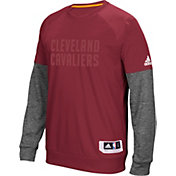adidas Men's Cleveland Cavaliers On-Court Burgundy/Grey Long Sleeve Shooting Shirt