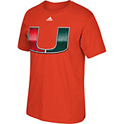 adidas Men's Miami Hurricanes Orange Chromed Logo T-Shirt