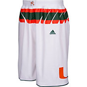 adidas Men's Miami Hurricanes White Premier Replica Basketball Shorts