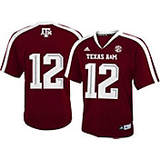 adidas Youth Texas A&M Aggies #12 Maroon Replica Short Sleeve Football Jersey