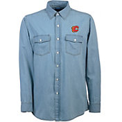 Antigua Men's Calgary Flames Chambray Button-Up Shirt