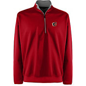 Antigua Men's Calgary Flames Leader Red Quarter-Zip Pullover Jacket