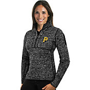 Antigua Women's Pittsburgh Pirates Black Fortune Half-Zip Pullover