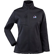 Antigua Women's Colorado Avalanche Traverse Soft Shell Full-Zip Black Jacket