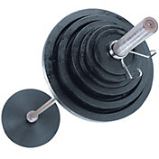 Body Solid 300 lb Cast Olympic Plate Set with Chrome Bar