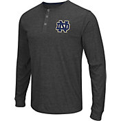 Colosseum Athletics Men's Notre Dame Fighting Irish Charcoal Long Sleeve Henley T-Shirt