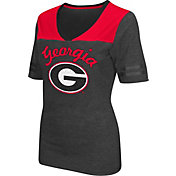 Colosseum Athletics Women's Georgia Bulldogs Grey Twist V-Neck T-Shirt