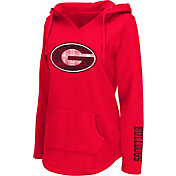 Colosseum Athletics Women's Georgia Bulldogs Red Walkover V-Neck Hooded Pullover