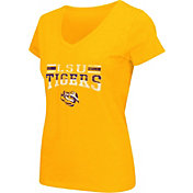 Colosseum Athletics Women's LSU Tigers Gold Graphic V-Neck T-Shirt