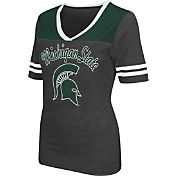 Colosseum Athletics Women's Michigan State Spartans Grey Twist V-Neck T-Shirt