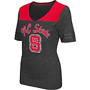 Colosseum Athletics Women's NC State Wolfpack Grey Twist V-Neck T-Shirt