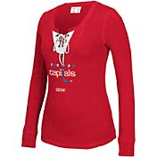 CCM Women's Washington Capitals Red Lace Up Henley