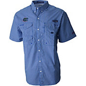 Columbia Men's Florida Gators Blue Gingham Checkered Super Bonehead Shirt