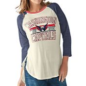G-III for Her Women's Washington Capitals Hang Time Three Quarter Sleeve Vintage White T-Shirt