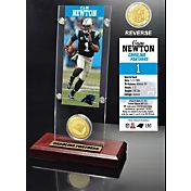 The Highland Mint Carolina Panthers Cam Newton Ticket and Bronze Coin Desktop Display