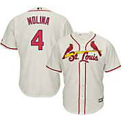 Majestic Men's Replica St. Louis Cardinals Yadier Molina #4 Cool Base Alternate Ivory Jersey