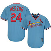 Majestic Men's Replica St. Louis Cardinals Whitey Herzog Cool Base Light Blue Cooperstown Jersey