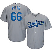 Majestic Men's Replica Los Angeles Dodgers Yasiel Puig #66 Cool Base Alternate Road Grey Jersey