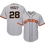 Majestic Men's Replica San Francisco Giants Buster Posey #28 Cool Base Road Grey Jersey