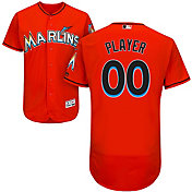 Majestic Men's Full Roster Authentic Miami Marlins Flex Base Alternate Orange On-Field Jersey