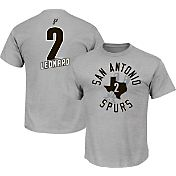 Majestic Men's San Antonio Spurs Kawhi Leonard #2 Grey T-Shirt
