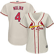 Majestic Women's Replica St. Louis Cardinals Yadier Molina #4 Cool Base Alternate Ivory Jersey