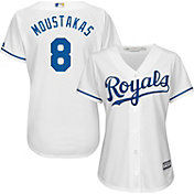 Majestic Women's Replica Kansas City Royals Mike Moustakas #8 Cool Base Home White Jersey