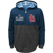 Majestic Youth St Louis Cardinals Navy Full-Zip Hooded Fleece