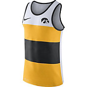 Nike Men's Iowa Hawkeyes White/Gold/Black Wide Stripe Dri-Blend Tank