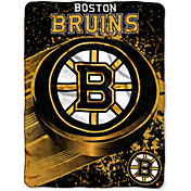 Northwest Boston Bruins Puck Micro Raschel Sherpa 45 in x 60 in Throw Blanket