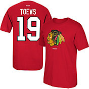Reebok Men's Chicago Blackhawks Jonathan Toews #19 Replica Red Player T-Shirt
