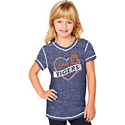 Soft As A Grape Youth Girls' Detroit Tigers Navy V-Neck Shirt