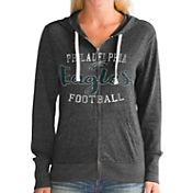 Touch by Alyssa Milano Women's Philadelphia Eagles Nubby Tri-Blend Full-Zip Black Hoodie