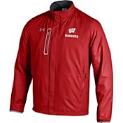 Under Armour Men's Wisconsin Badgers Red/Grey Hybrid Microfleece Jacket