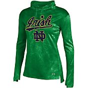 Under Armour Women's Notre Dame Fighting Irish Green Fusion Tech Long Sleeve Cowl Neck Shirt