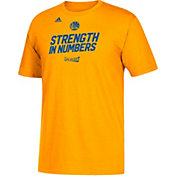 "adidas Youth Golden State Warriors 2017 NBA Playoffs ""Strength In Numbers"" Gold T-Shirt"