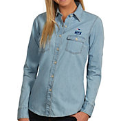 Antigua Women's Super Bowl LI Bound New England Patriots Button-Up Chambray