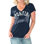 G-III For Her Women's Sporting KC Homefield Navy Slub T-Shirt