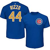 Majestic Men's Chicago Cubs World Series Champs Anthony Rizzo #44 Royal/Gold T-Shirt