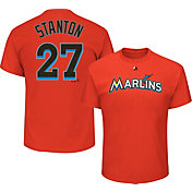Majestic Men's Miami Marlins Giancarlo Stanton #27 Orange T-Shirt