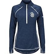 Majestic Women's San Diego Padres Cool Base Navy Half-Zip Pullover