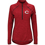 Majestic Women's Cincinnati Reds Cool Base Red Half-Zip Pullover