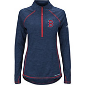 Majestic Women's Boston Red Sox Cool Base Navy Half-Zip Pullover
