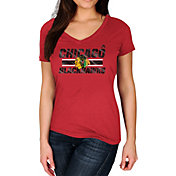 Majestic Women's Chicago Blackhawks Stick to Stick Red V-Neck T-Shirt