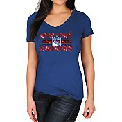 Majestic Women's New York Rangers Stick to Stick Blue V-Neck T-Shirt