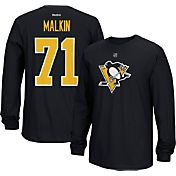 Reebok Men's Pittsburgh Penguins Evgeni Malkin #71 Long Sleeve Player Black Long Sleeve T-Shirt