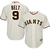 Majestic Men's Replica San Francisco Giants Brandon Belt #9 Cool Base Home Ivory Jersey