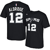 adidas Men's San Antonio Spurs LaMarcus Aldridge #12 Black T-Shirt