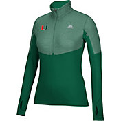 adidas Women's Miami Hurricanes Green Long Sleeve Half-Zip Shirt